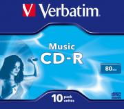 CD-R VERBATIM 700MB/80MIN 16X AUDIO COLOR JEWELCASE 43365