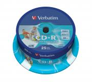 CD-R VERBATIM 700MB 52X AZO WIDE PRINTABLE ID SPINDLE 25 43439